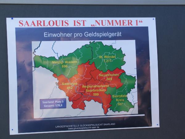 Mit 98,87 Einwohnern/Spielgerät hat Saarlouis die höchste Pro-Kopf-Quote an Spielgeräten im Saarland.