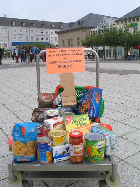 Installation: gesetzlich vorgeschriebener maximal Stundenverlust an einem Geldspielautomaten – dafür hätte man sich auch diese Lebensmittel kaufen können.