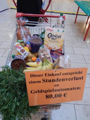 Ein Einkaufswagen mit Lebensmitteln im Wert von 80,00 EUR. Das entspricht dem max. Verlust für eine Stunde Glücksspiel am Glücksspielautomaten.